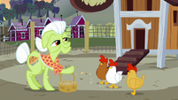 Granny Smith feeding the chickens S7E13