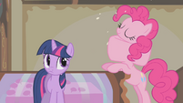Pinkie Pie swallowing a cake whole S1E10