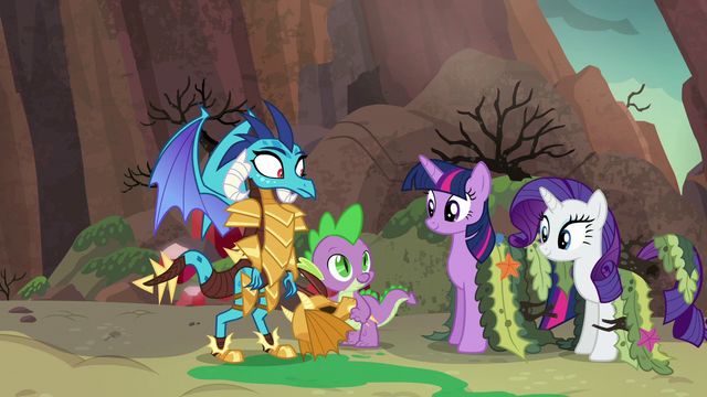 File:Spike introduces ponies as his friends S6E5.png