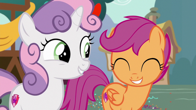 File:Sweetie Belle proud of Scootaloo S6E19.png
