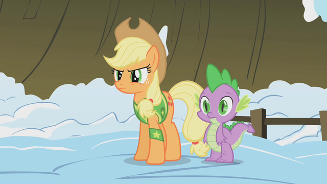 File:Applejack wary of Twilight's sudden strength S1E11.png