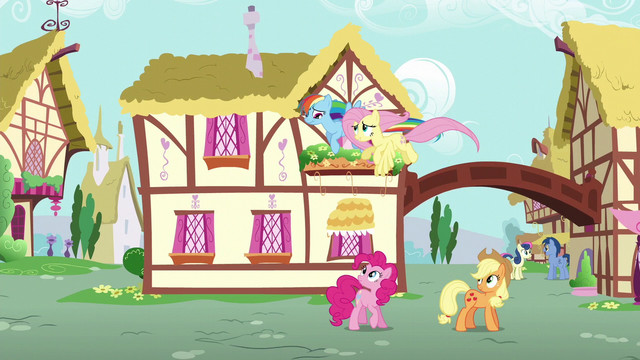 File:Fluttershy and Dash fly over Pinkie and Applejack S6E11.png