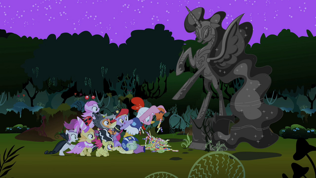 File:Pinkie Pie and foals quickly donating S2E4.png