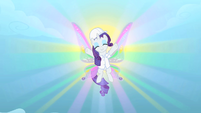 Rarity shows off resplendent wings in the factory S1E16
