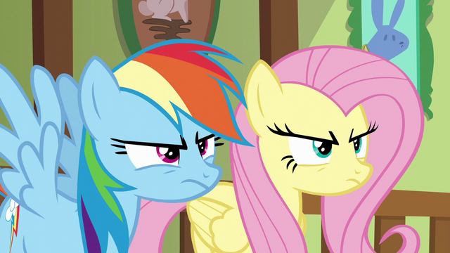 File:Fluttershy and Rainbow glaring at Zephyr S6E11.png