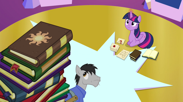 File:Book with Celestia's cutie mark on top of book pile EG2.png