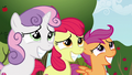 Cutie Mark Crusader grin nervously at Gabby S6E19.png