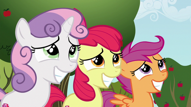 File:Cutie Mark Crusader grin nervously at Gabby S6E19.png