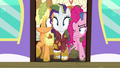 Applejack, Rarity, and Pinkie caught in the train door S6E22.png