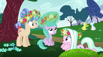 Ponies and Aura playing with flowers S6E6