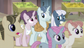 Sugar Belle, Party Favor, and Night Glider nervous expressions S5E02.png