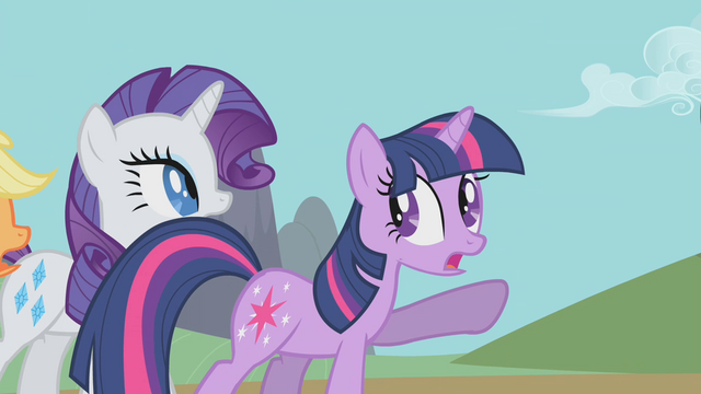 File:Twilight points to Celestia's chariot S1E10.png