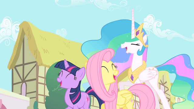 File:Twilight, Fluttershy, and Celestia laughing S01E22.png