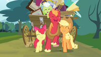 Apple Bloom, Big McIntosh and Applejack together S4E09