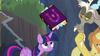 Friendship journal balanced on Twilight's horn S4E25