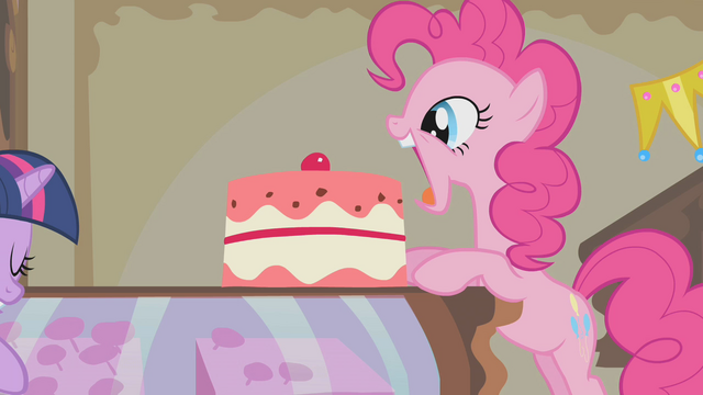 File:Pinkie Pie about to eat another cake S1E10.png