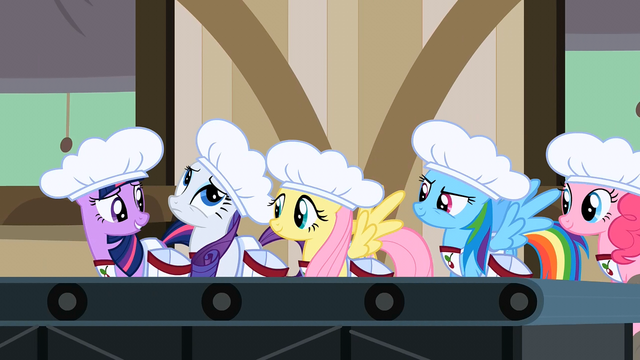 File:5 main ponies lining up to work in the cherry factory S2E14.png