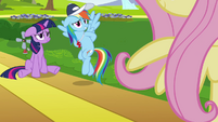Rainbow Dash about to tell Fluttershy's result S2E22