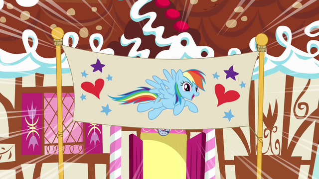 File:Rainbow Dash in front of birthday banner S4E12.png