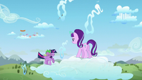 Starlight Glimmer and Twilight Sparkle on two clouds S5E26