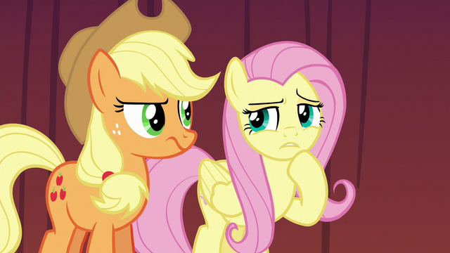 File:AJ and Fluttershy uncertain of Flim and Flam's motives S6E20.png