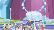 Applejack, Rainbow, and Fluttershy in front of the crowd S6E2.png