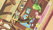 Discord and Fluttershy in spinning cottage S03E10.png