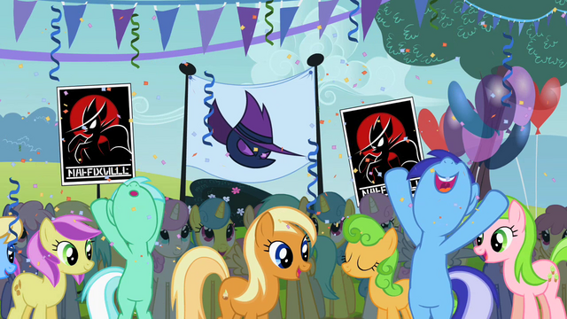 File:Mysterious Mare Do Well rally posters Batman S2E08.png