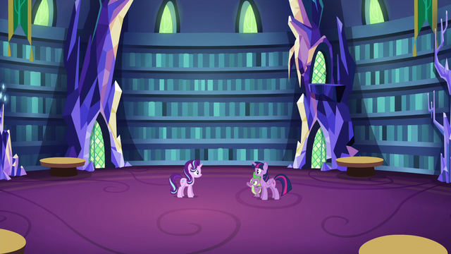 File:Twilight, Spike, and Starlight in the clean library S6E21.png