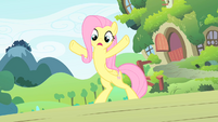Fluttershy trying to block the scooter S1E23