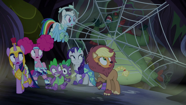 File:Swamp monster gets stuck in spider web S5E21.png