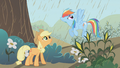 Applejack and Rainbow Dash conversing about the rain S2E1.png