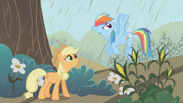 File:Applejack and Rainbow Dash conversing about the rain S2E1.png