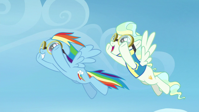 File:Rainbow Dash and Vapor Trail flying together S6E24.png