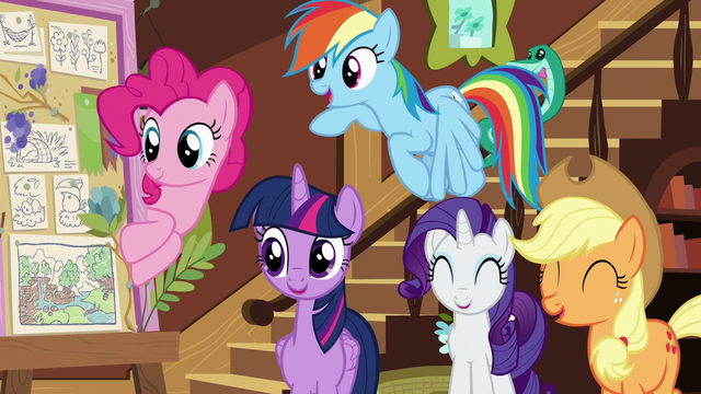"""File:Main ponies amused by Pinkie's """"Flutterbold"""" joke S7E5.png"""