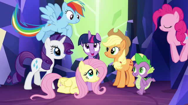 File:Mane 6 and Spike gather for final shot S4E26.png