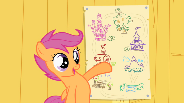 File:Scootaloo showing off her map of Ponyville S1E18.png