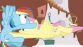 Fluttershy pummeling into Rainbow Dash S2E21.png
