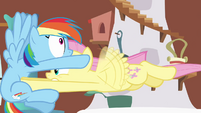 Fluttershy pummeling into Rainbow Dash S2E21