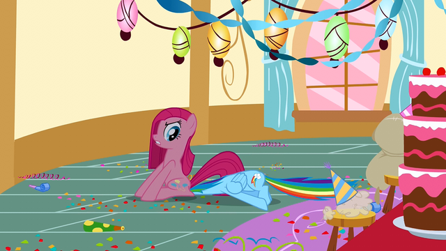 File:Pinkie Pie sitting on Rainbow Dash S01E25.png