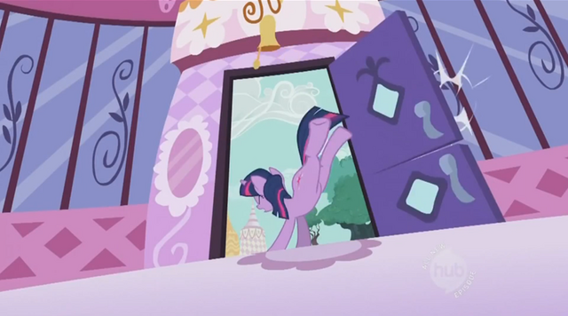 File:Twilight Sparkle Bucking Door S2E3.png