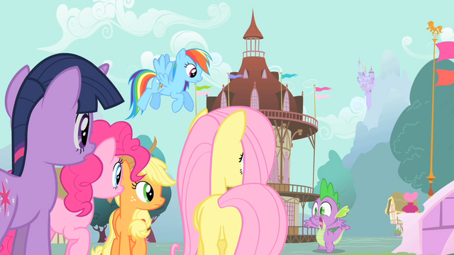 File:Main ponies and Spike panicking S01E19.png