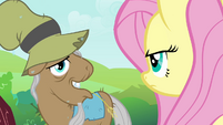 Mr. Greenhooves talking to Fluttershy S2E19