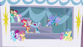 Ponies in private box back away from Bow and Windy S7E7.png