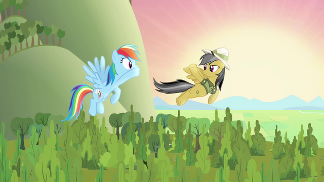 File:Rainbow Dash and Daring Do wave goodbye S4E04.png
