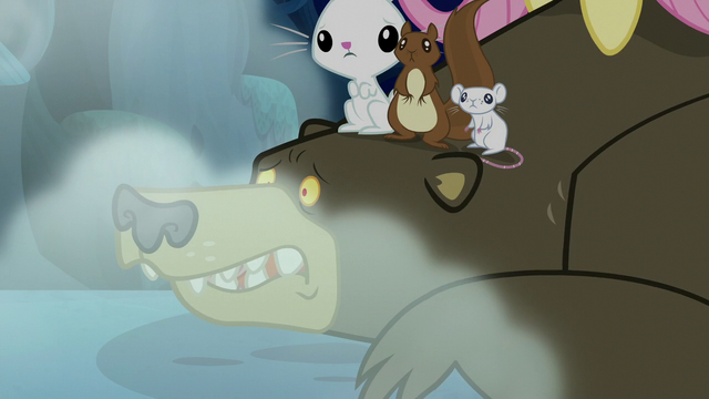 File:Harry trembling under Fluttershy and animals S6E15.png