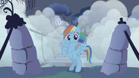 Rainbow Dash flies back after securing bridge rope S1E02