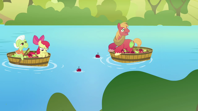 File:Apple Bloom, Big Mac, and Granny Smith salvaging apples S03E10.png