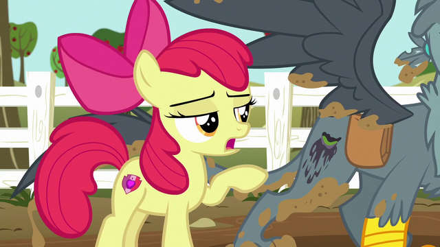 File:Apple Bloom points out Gabby's running cutie mark S6E19.png