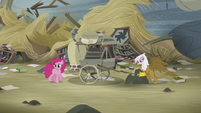 Pinkie walking while GIlda puts her carriage down S5E8